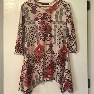 Tops - Tunic Fall colours, 3/4 sleeves, asymmetrical hem.